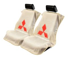 Seat Armour Pair of Tan Towel Seat Covers with Mitsubishi Logo, Front-Right View