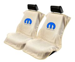 Seat Armour Pair of Tan Towel Seat Covers with Mopar Logo, Front-Right View
