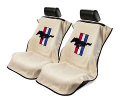 Seat Armour Pair of Tan Towel Seat Covers with Mustang Pony Logo, Front-Right View