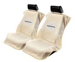 Seat Armour ® - Pair of Tan Towel Seat Covers with Nissan Logo (SA100NISST)