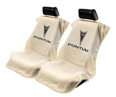 Seat Armour Pair of Tan Towel Seat Covers with Pontiac Logo, Front-Right View