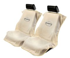 Seat Armour Pair of Tan Towel Seat Covers with Scion Logo, Front-Right View