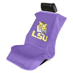 Seat Armour Purple Towel Seat Cover with NCAA Louisiana University Logo - Front-Right View