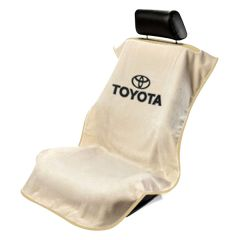Seat Armour Tan Towel Seat Cover with Toyota Logo - Front-Right View