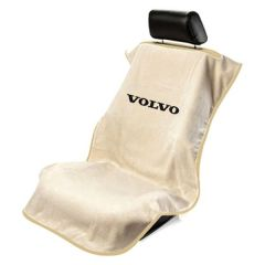 Seat Armour Tan Towel Seat Cover with Volvo Logo - Front-Right View