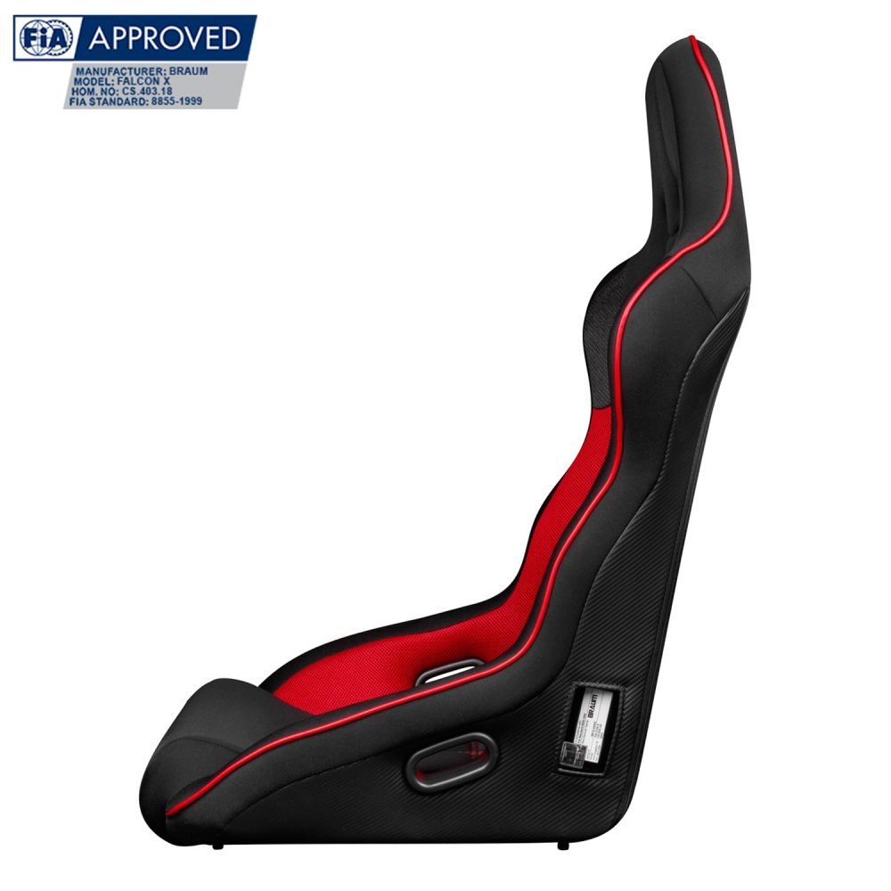 Braum ® - Black and Red Cloth FIA Approved Fixed Back FALCON X Series Racing Seat (BRR8-BFRP)