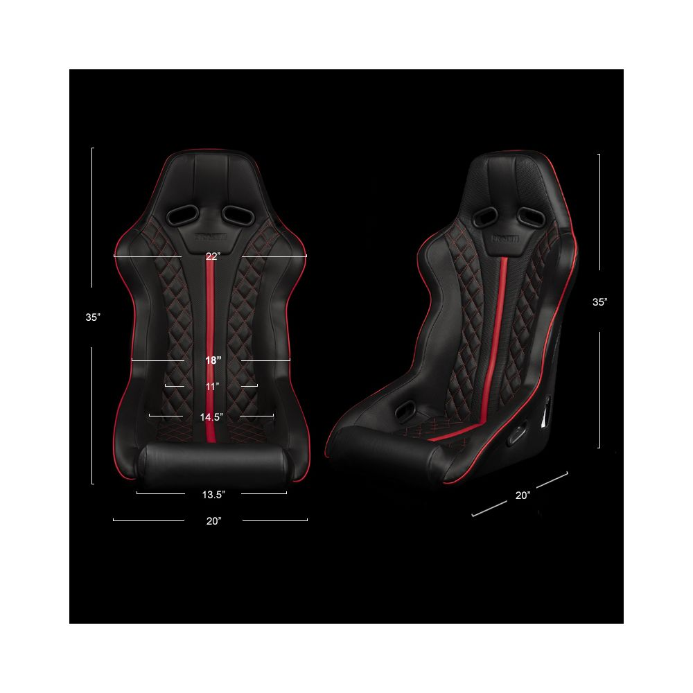 Braum ® - Black Leatherette FIA Approved Fixed Back FALCON X Series Diamond Edition Racing Seat with Red Stitching and Piping (BRR8-BDRP)