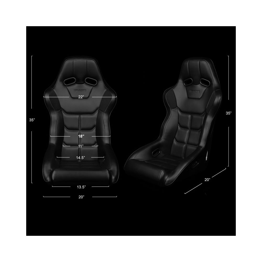 Braum ® - Black Leatherette FIA Approved Fixed Back FALCON X Series Racing Seat With Black Piping (BRR8-BKBP)