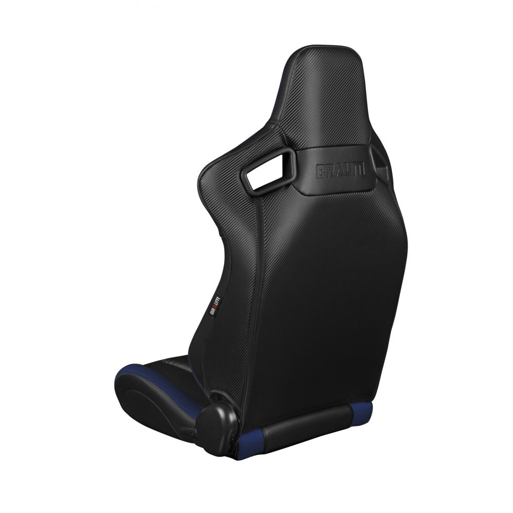 Braum ® - Pair of Black and Blue Leatherette Carbon Fiber Mixed Elite Series Racing Seats (BRR1-BKBU)