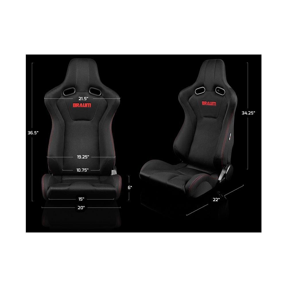 Braum ® - Pair of Black Fabric Mesh Mixed Venom Series Racing Seats with Red Stitches (BRR7-BKRS)