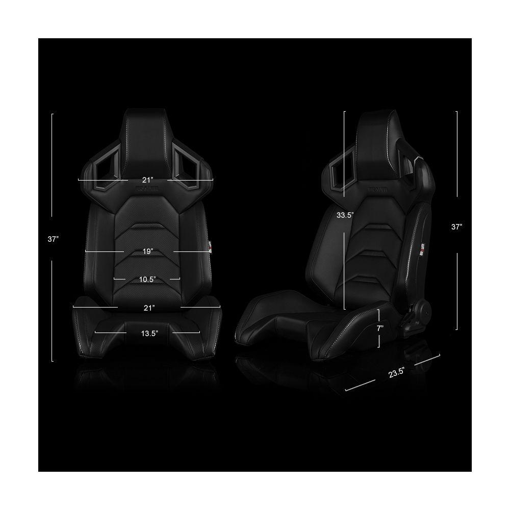 Braum ® - Pair of Black Leatherette ALPHA-X Series Racing Seats With Black Stitching (BRR5-BKBK)