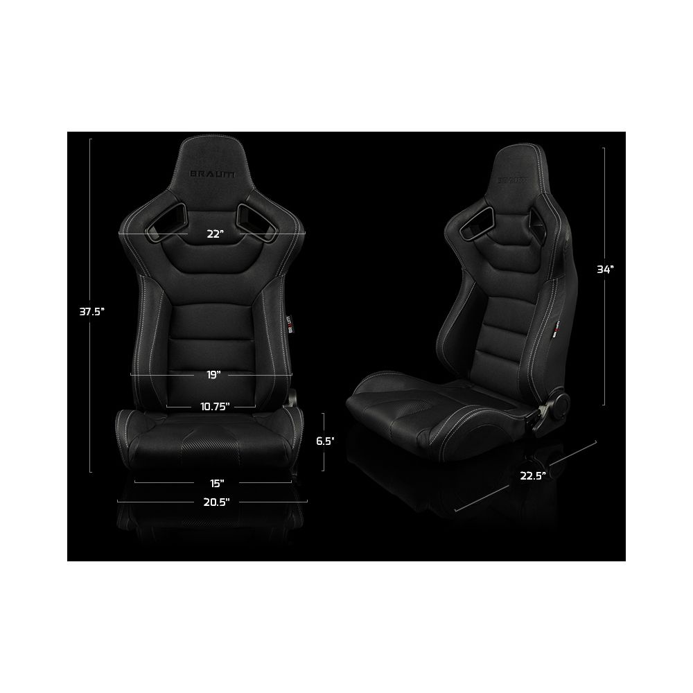 Braum ® - Pair of Black Leatherette Carbon Fiber Mixed Elite Series Racing Seats with White Stitches (BRR1-BKWS)