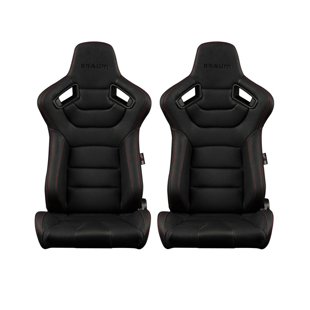Braum ® - Pair of Black Leatherette Carbon Fiber Mixed Elite Series Racing Seats with Red Stitches (BRR1-BKRS)