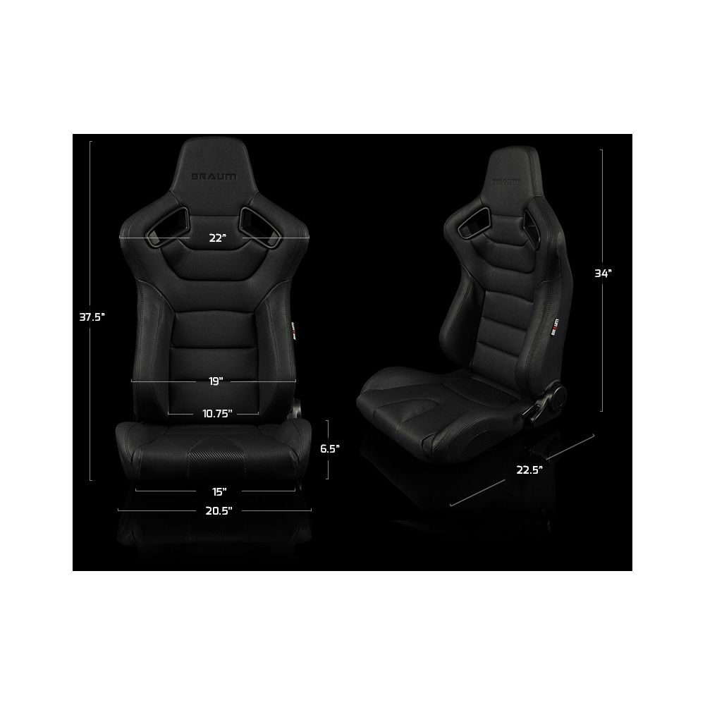 Braum ® - Pair of Blue Fabric Elite Series Racing Seats With Black Stitching (BRR1-UFBS)
