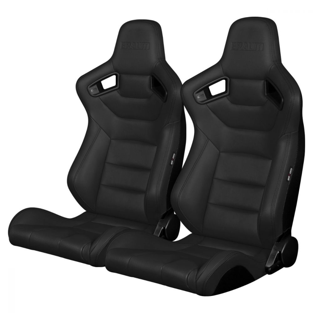 Braum ® - Pair of Charcoal Gray Leatherette Elite Series Racing Seats With Black Stitching (BRR1-DGBS)