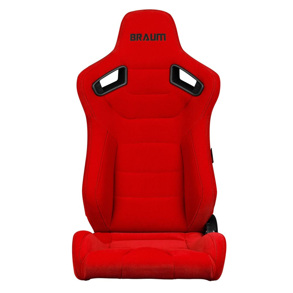 Braum ® - Pair of Red Fabric Elite Series Racing Seats With Black Stitching (BRR1-RFBS)