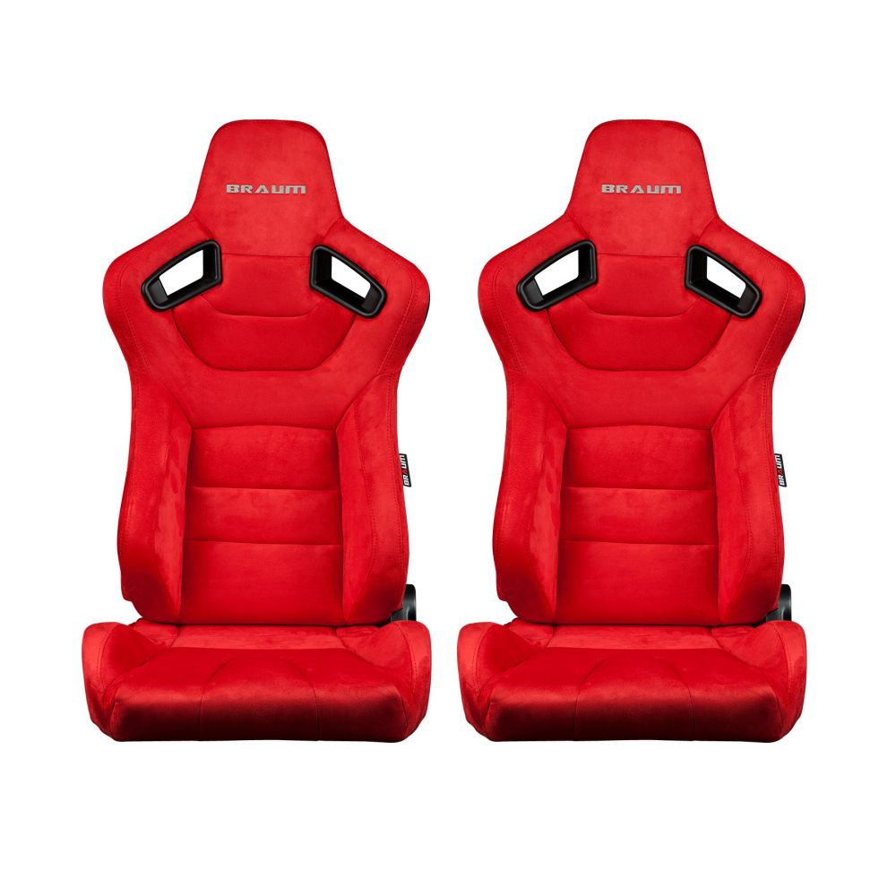 Braum ® - Pair of Red Microsuede Carbon Fiber Mixed Elite Series Racing Seats (BRR1-RSBS)