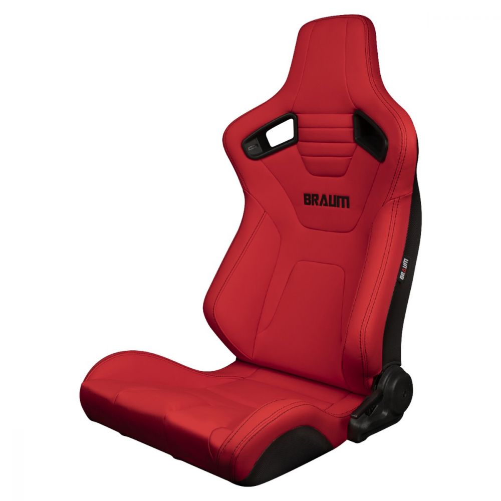 Braum ® - Pair of  Red Ultra Grip Fabric Elite-X Series Racing Seats With Black Stitching (BRR1X-RDUS)