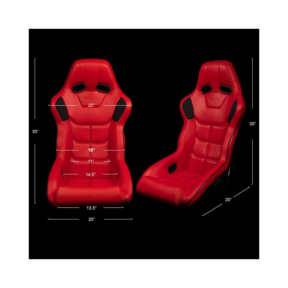 Braum ® - Red Leatherette FIA Approved Fixed Back FALCON X Series Racing Seat With Black Piping (BRR8-RDBP)