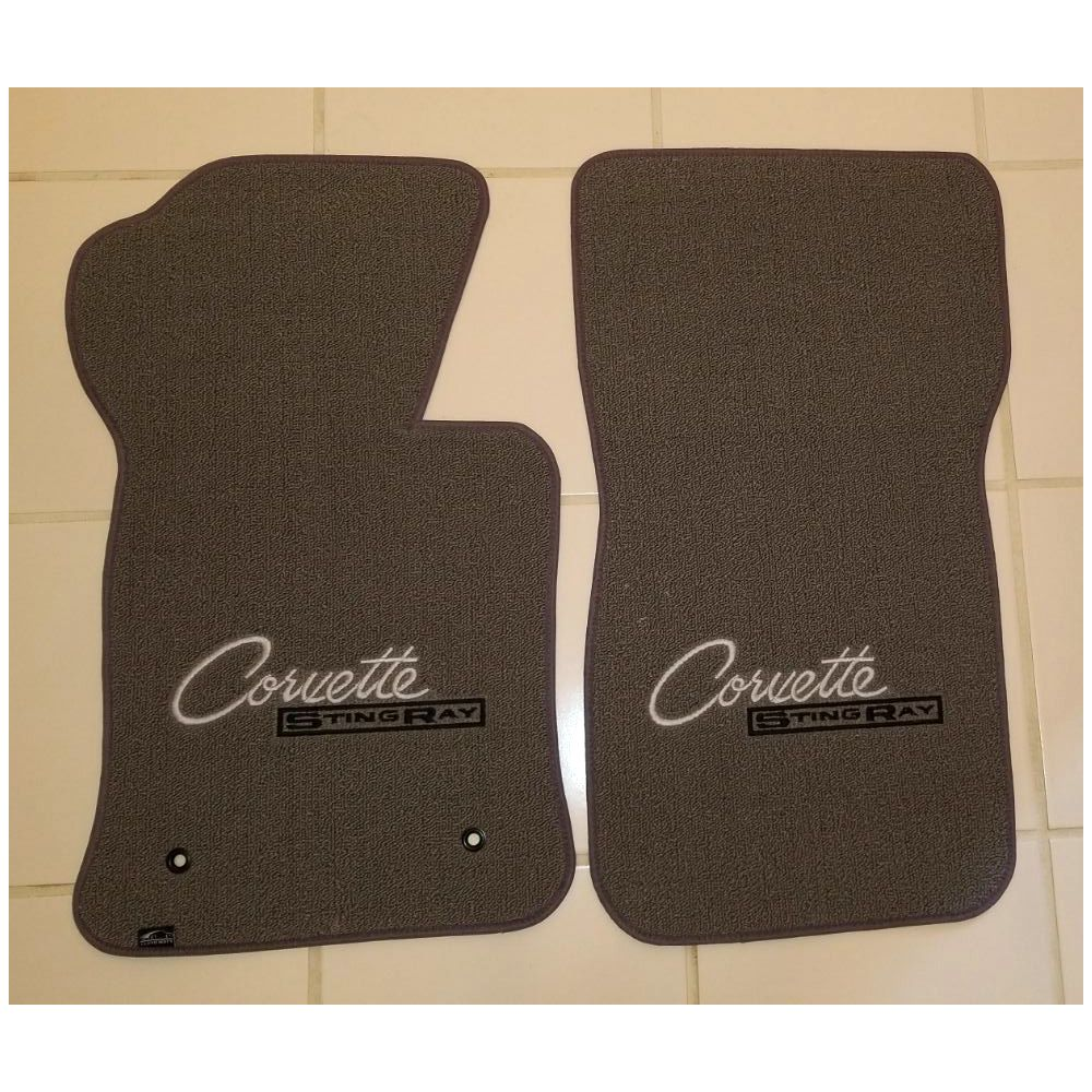 Lloyd Mats ® - Classic Loop Grey Front Floor Mats For Corvette C2 with Corvette Silver Script Logo and Black Stingray Embroidery