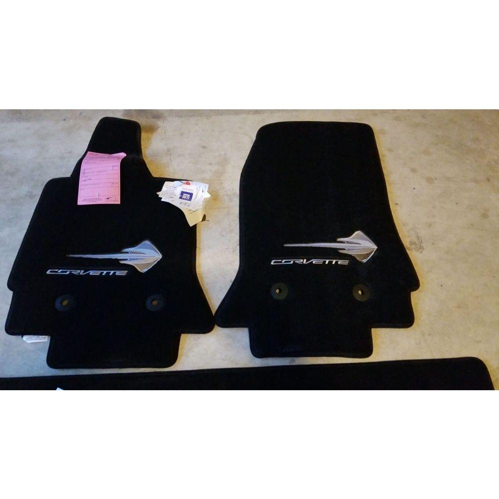 Lloyd Mats ® - Ultimat Jet 3PC Floor Mats For Corvette Convertible with Silver C7 Stingray Logo and Corvette Lettering Applique