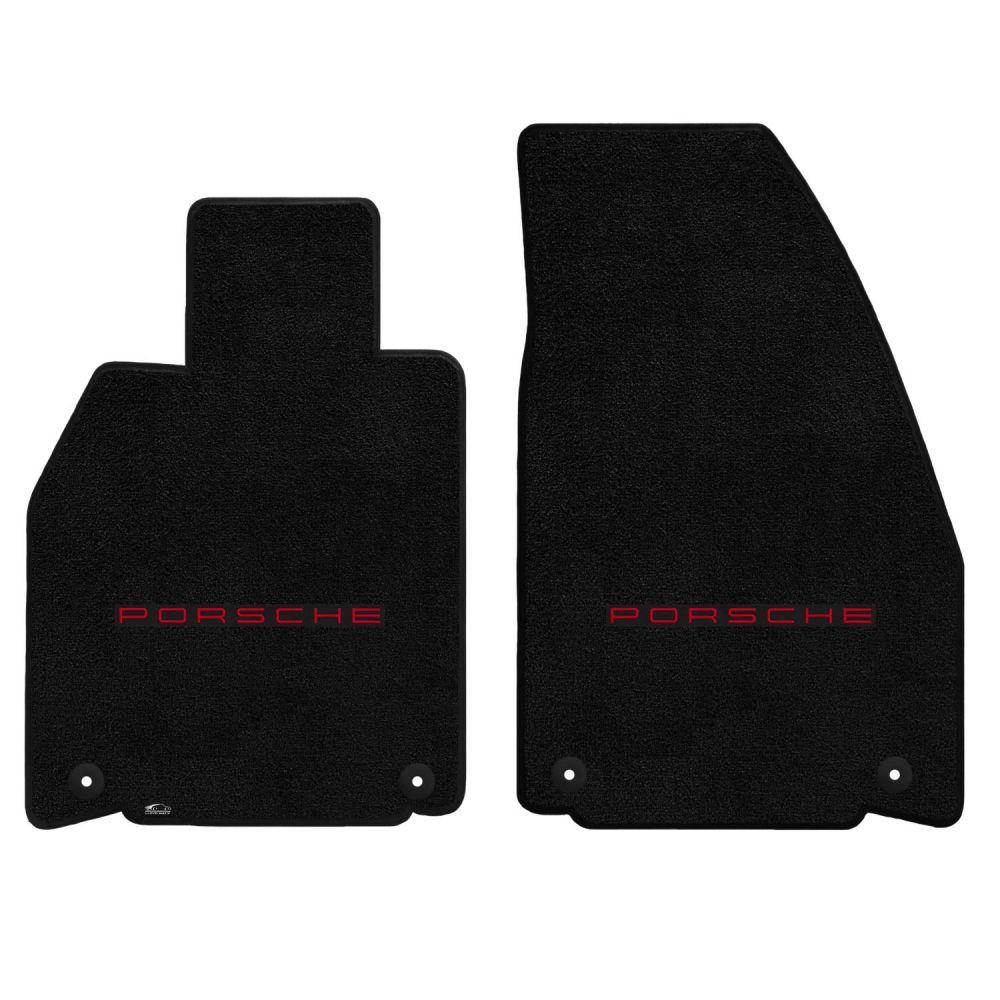 Lloyd ® - Ultimat™ Black Custom Front Floor Mats With Red Porsche Lettering Logo (600222)