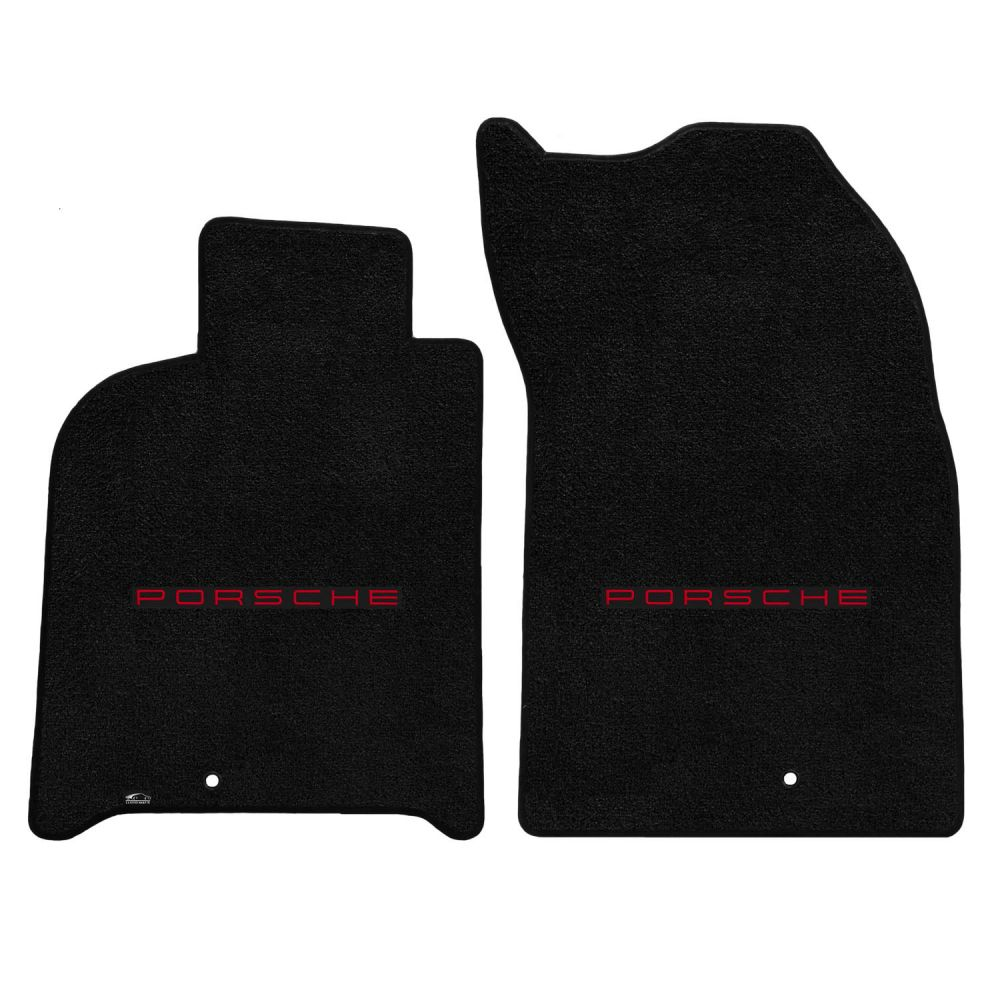 Lloyd ® - Ultimat™ Black Custom Front Floor Mats With Red Porsche Lettering Logo (600241)