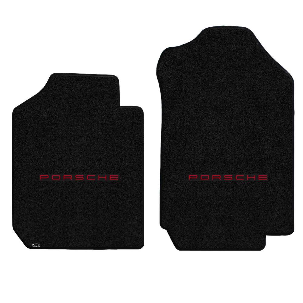Lloyd ® - Ultimat™ Black Custom Front Floor Mats With Red Porsche Lettering Logo (600248)