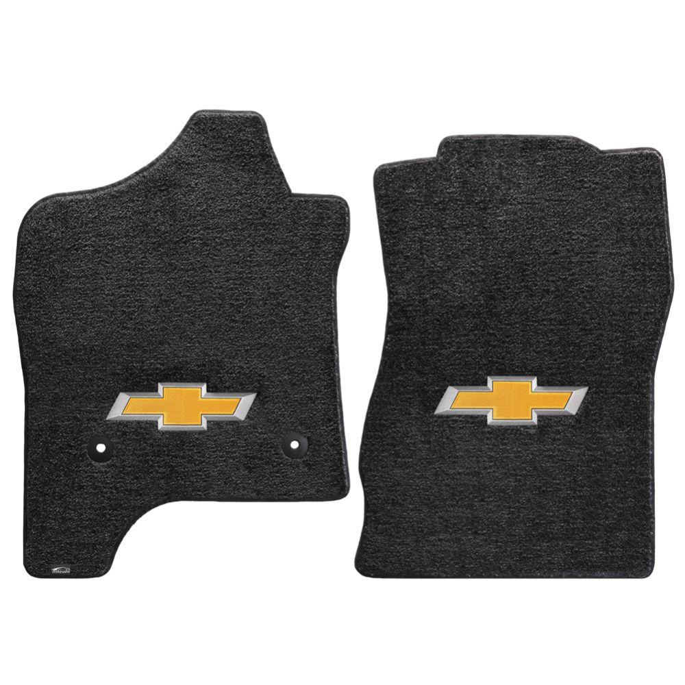 Lloyd ® - Ultimat™ Ebony Custom Front Floor Mats With Gold 3D Bowtie Logo (600041)