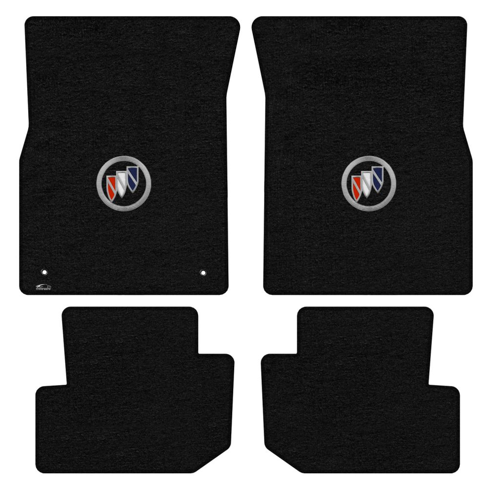Lloyd ® - Velourtex™ Black Custom 4PC Floor Mats With Tri Color Shield Logo (620248)