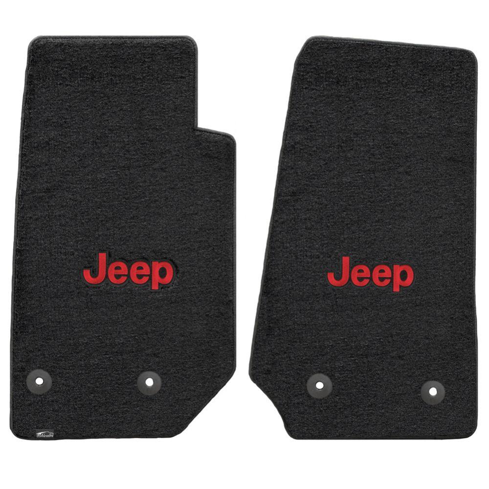 Lloyd ® - Velourtex™ Black Custom Front Floor Mats With Red Jeep Logo (620065)