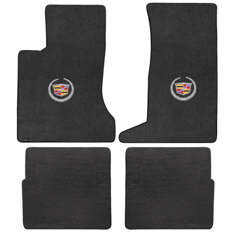 Lloyd ® - Velourtex™ Ebony Custom 4PC Floor Mats With Silver Cadillac Logo (620085)