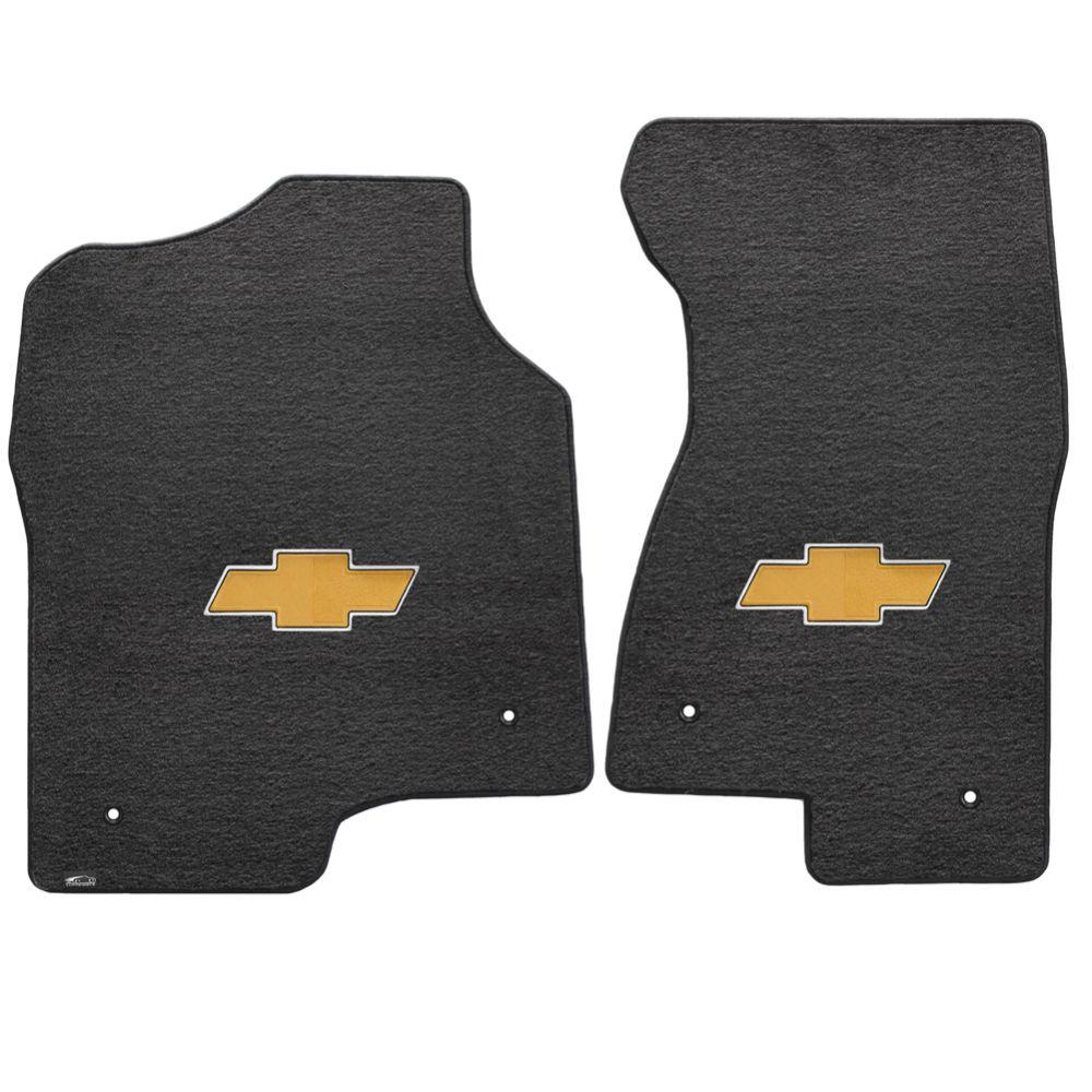 Lloyd ® - Velourtex™ Ebony Custom Front Floor Mats With Gold Bowtie Logo (620047)