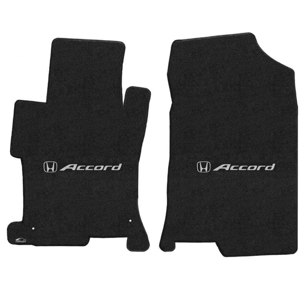 Lloyd ® - Velourtex™ Ebony Custom Front Floor Mats With Silver Accord & H Logo (620157)