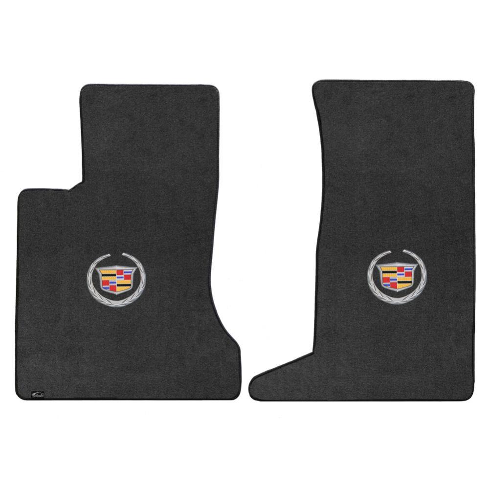Lloyd ® - Velourtex™ Ebony Custom Front Floor Mats With Silver Cadillac Logo (620084)