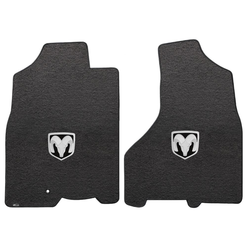 Lloyd ® - Velourtex™ Ebony Custom Front Floor Mats With Silver RAM Logo (620056)