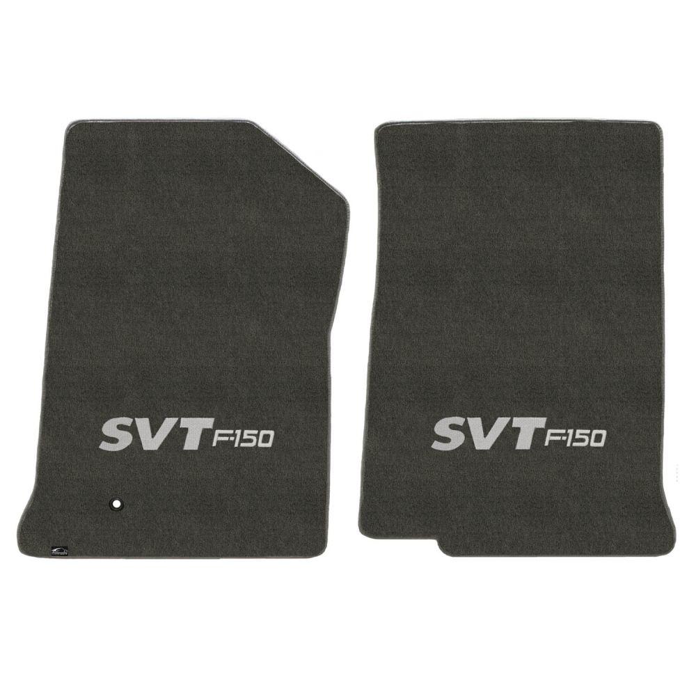 Lloyd ® - Velourtex™ Smoke Custom Front Floor Mats With Silver SVT F-150 Logo (620206)