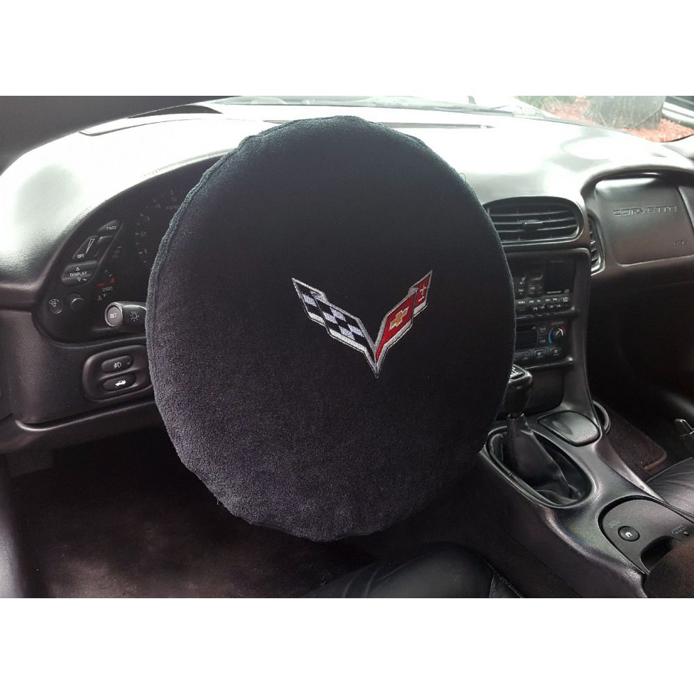 Black 4PC Towel Protectors For Corvette C7 - Seats, Console and Steering Wheel