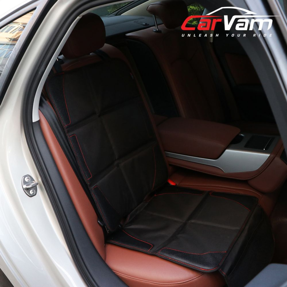 CarVam Black Waterproof Thick Premium Car Seat Protector With 2 Mesh Storage Pockets CVVAMOS, Inside car