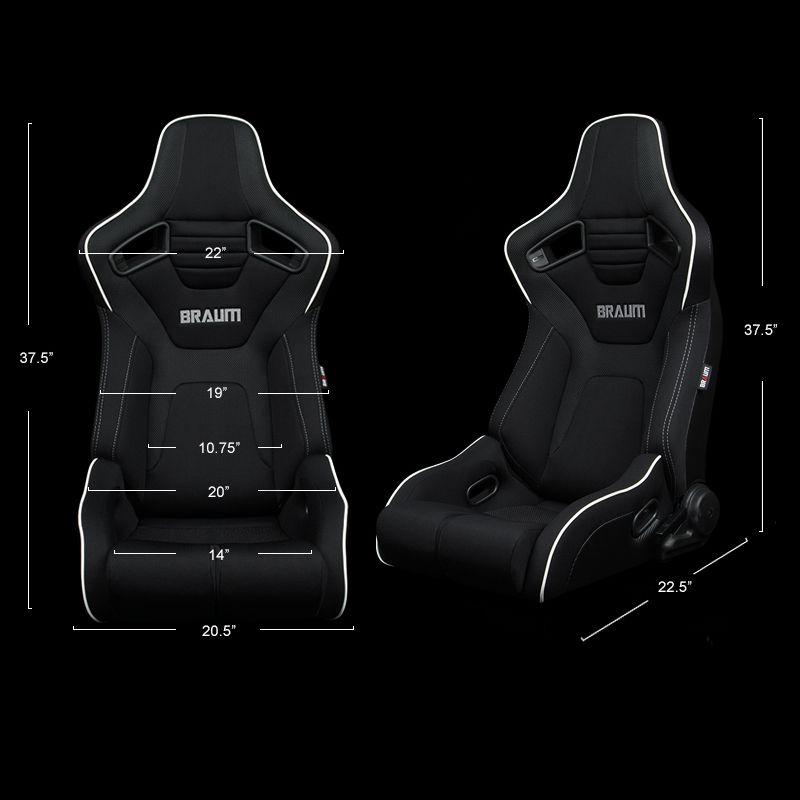 Braum Pair of Black Cloth ELITE-R Series Racing Seats With Grey Stitches And White Piping BRR1R-BFWP, dimensions