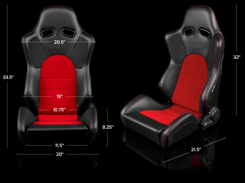 Braum Pair of Black Leatherette Advan Series Racing Seats with Blue Fabric Inserts and Blue Stitches BRR2-BKBU, dimensions image