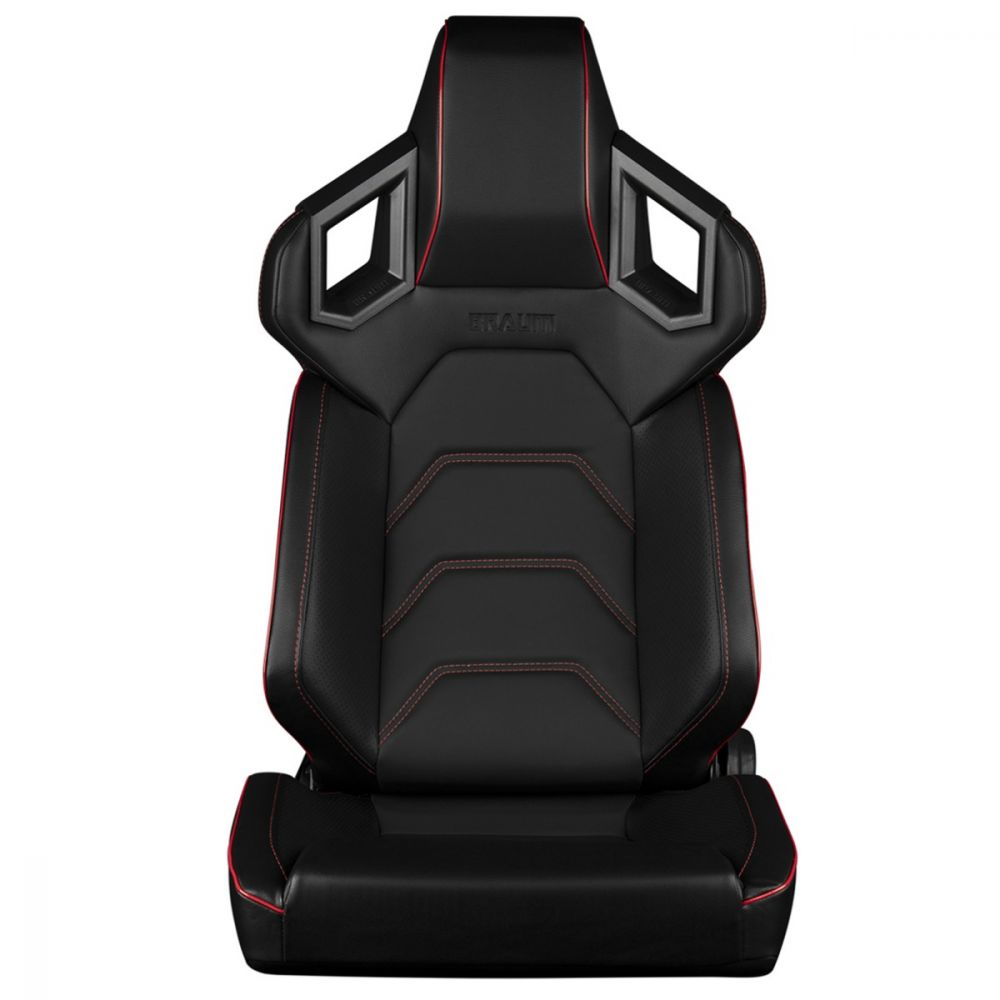 Braum ® - Pair of Black Leatherette ALPHA-X Series Low Base Version Racing Seats With Red Stitching (BRR5-BKRS)