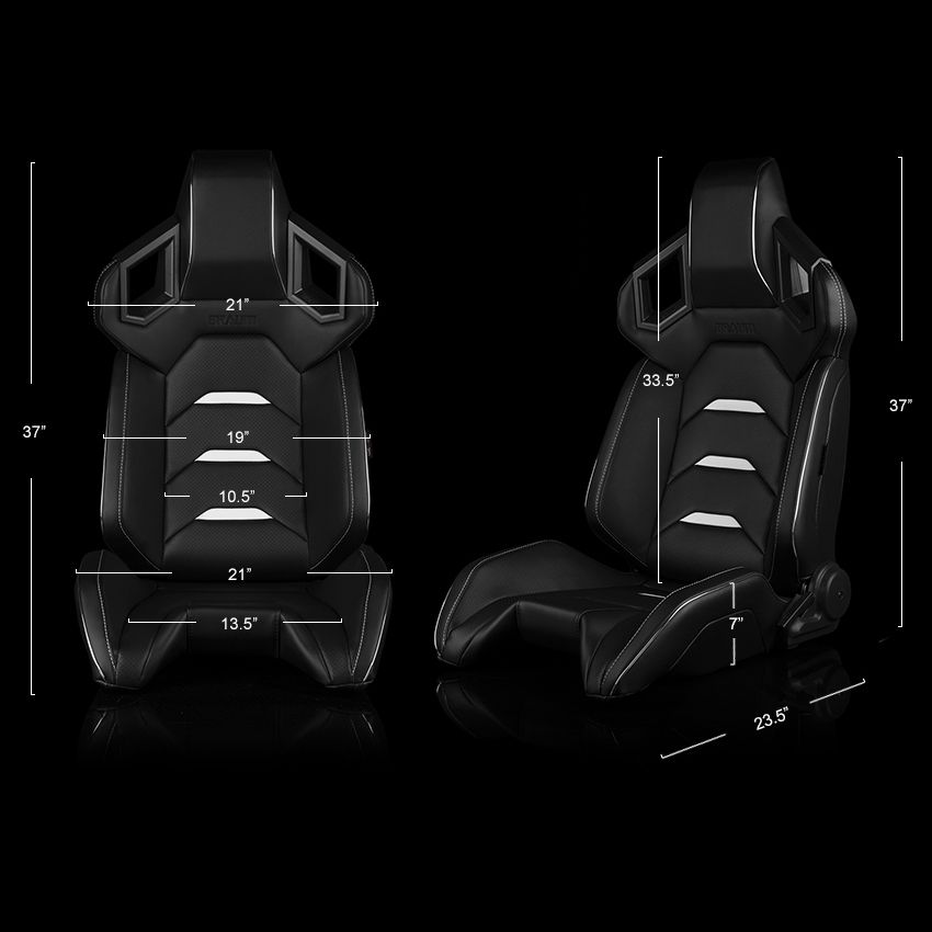 Braum ® - Pair of Black Leatherette ALPHA-X Series Racing Seats With White Stitching and Piping (BRR5-BKWW)