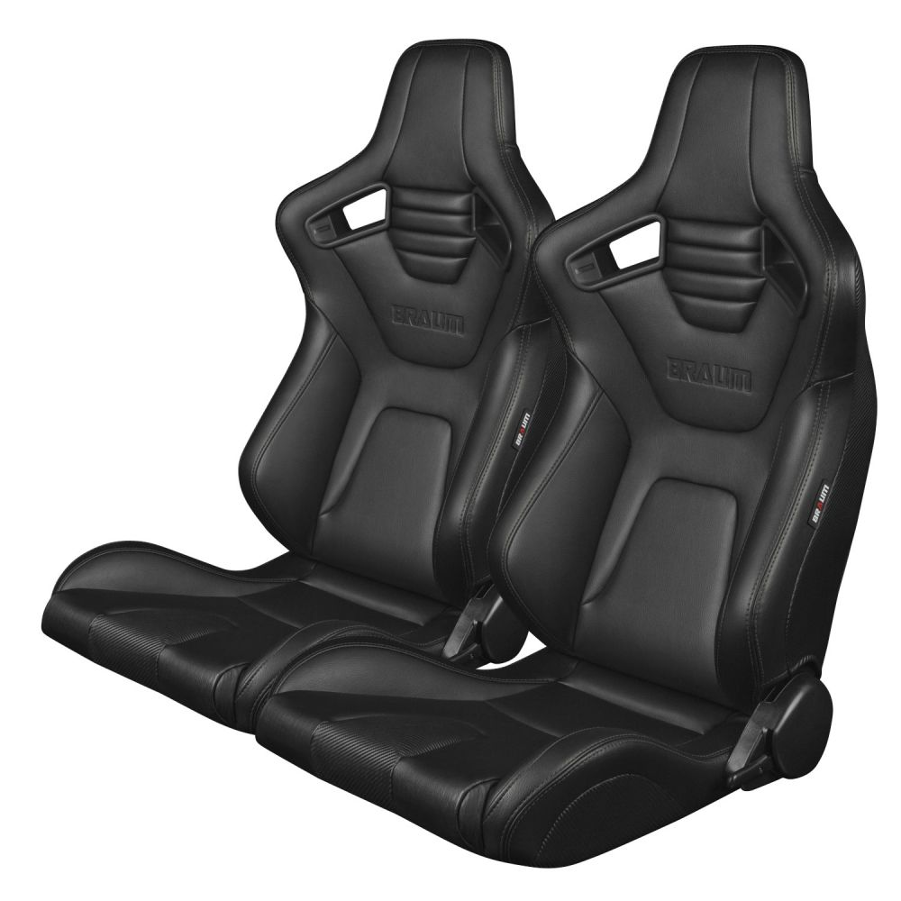 Braum Pair of Black Leatherette Carbon Fiber Mixed Elite-X Series Racing Seats with Black Stitches, Pair