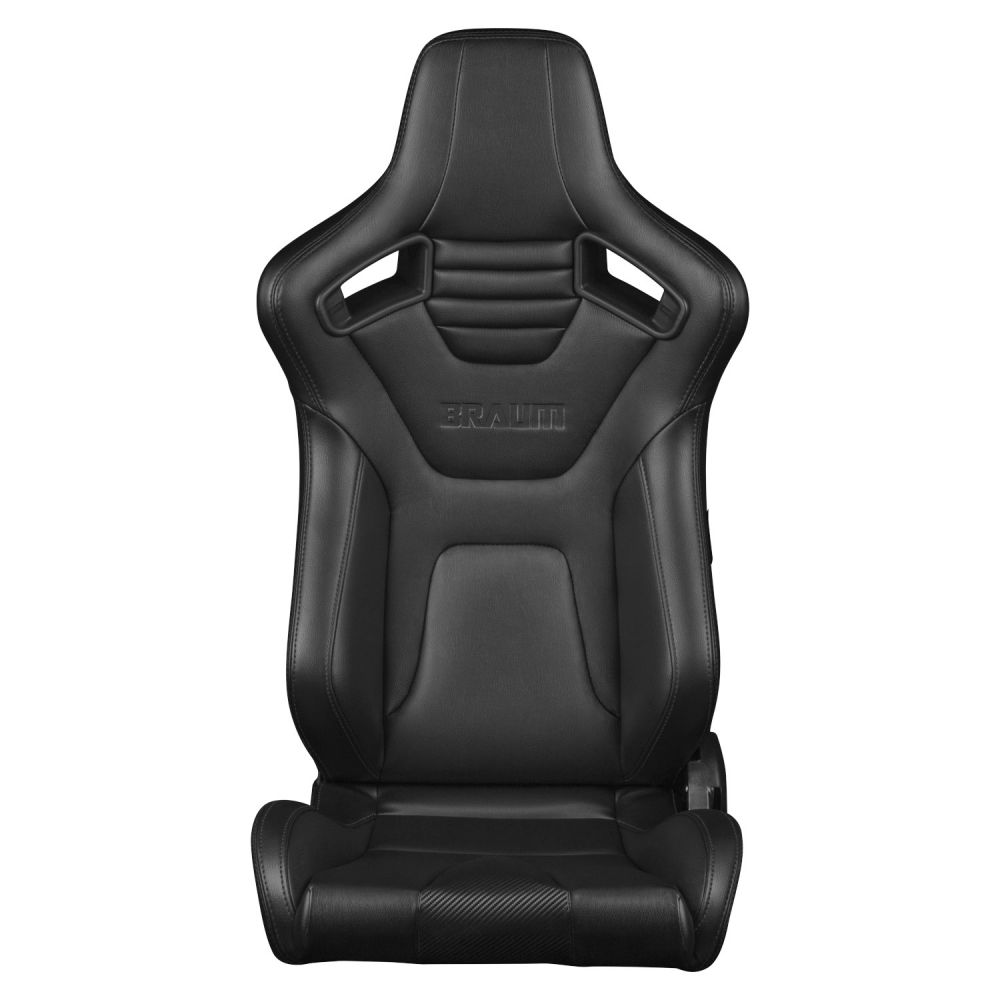 Braum Pair of Black Leatherette Carbon Fiber Mixed Elite-X Series Racing Seats with Black Stitches, item image