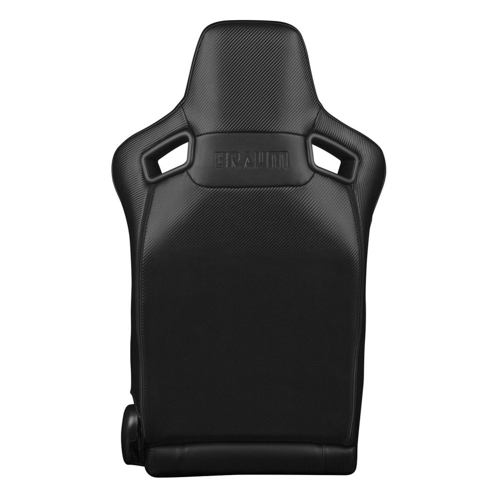 Braum Pair of Black Leatherette Carbon Fiber Mixed Elite-X Series Racing Seats with Black Stitches, Back
