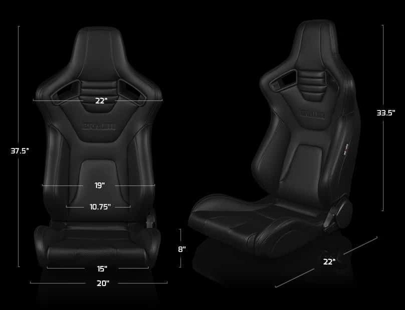 Braum Pair of Black Leatherette Carbon Fiber Mixed Elite-X Series Racing Seats with Black Stitches, Dimensions Image