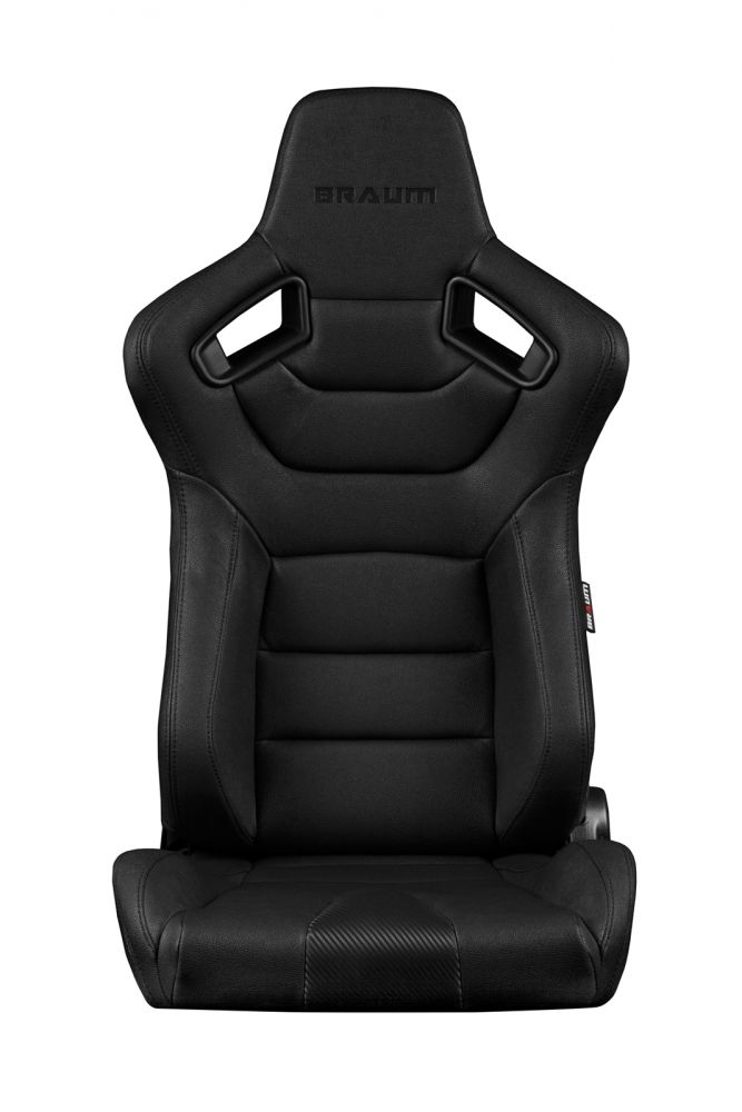 Braum ® - Pair of Black Leatherette Carbon Fiber Mixed Elite Series Racing Seats with Black Stitches (BRR1-BKBS)