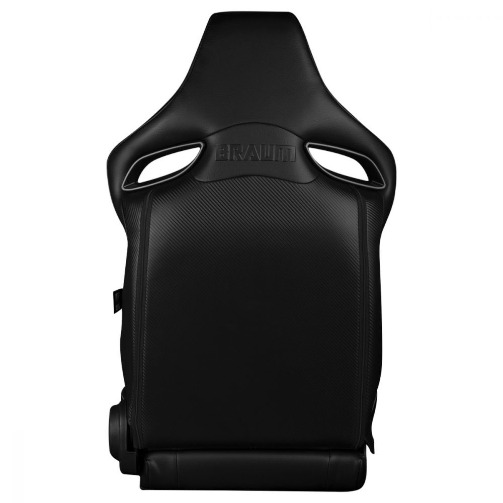 Black Leatherette ORUE Series Diamond Edition Racing Seats With Red Stitching and Piping - Back view