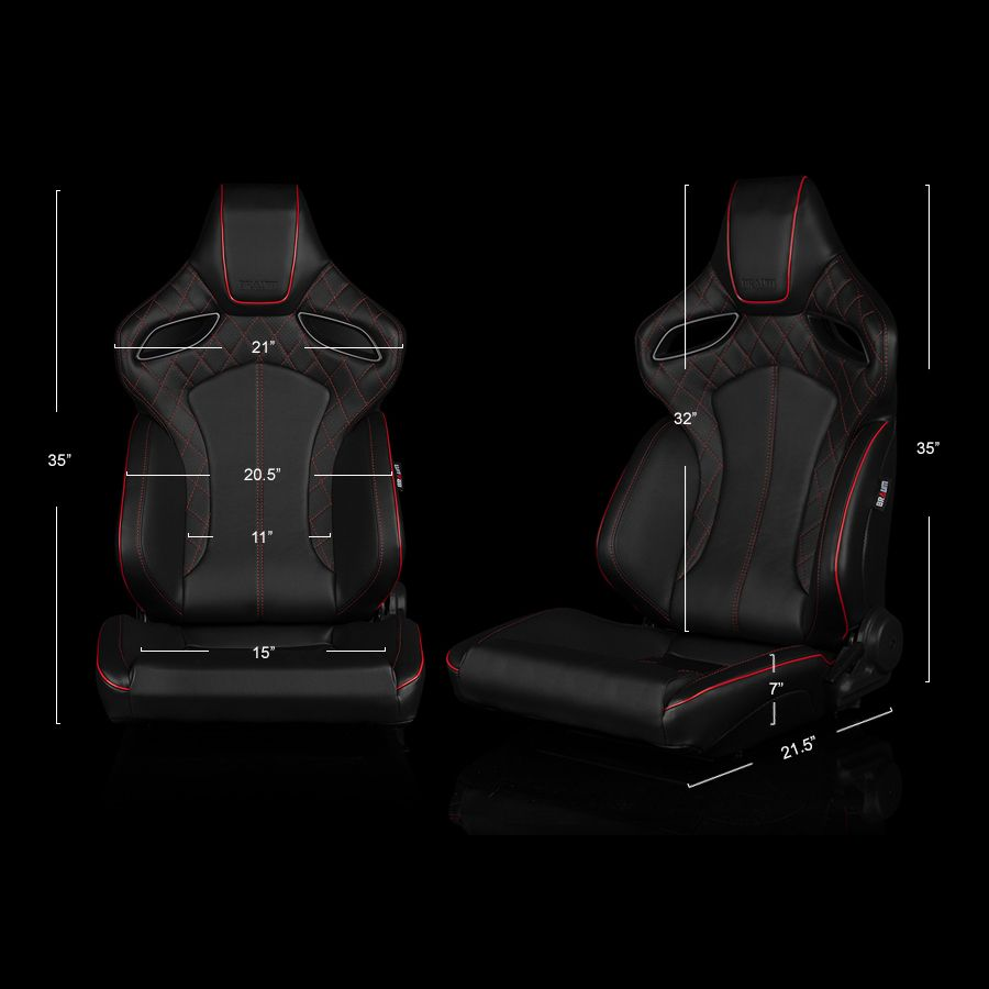 Black Leatherette ORUE Series Diamond Edition Racing Seats With Red Stitching and Piping - dimensions image